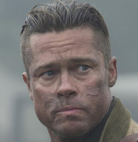 brad pitt fury haircut