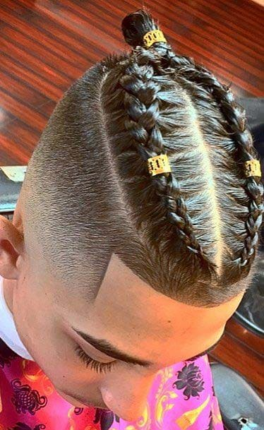 braided man bun haircuts 2018